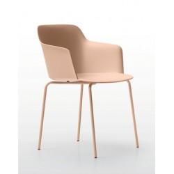 DEEP PLASTIC sedia con gambe in metallo Quinti